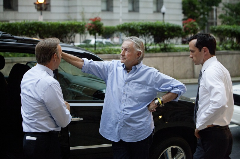 """Kevin Spacey, director Joel Schumacher and actor Nathan Darrow on the set of Netflix's """"House of Cards."""" Photo credit: Patrick Harbron for Netflix."""